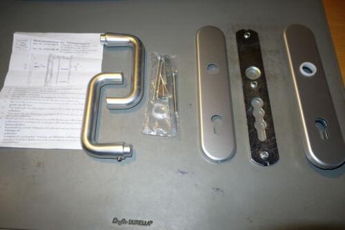 Sicherheitsbeschlag Haustür Alu silber 92 mm PZ 2 Drücker 8018