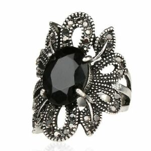 Gifts-Women-Agate-Stone-Jewelry-Hollow-Out-Punk-Ring-Silver-Zircon-Flower-Shape