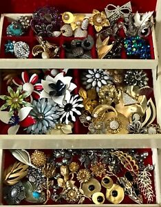 Nice-Jewelry-Lot-ALL-GOOD-NO-JUNK-Vintage-5-Pc-Earring-Brooch-Necklace-Etc