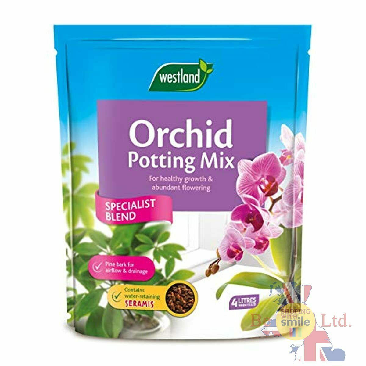 Westland Orchid 4L Potting Compost Mix Healthy Growth Flowering With Seramis