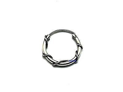 New Mens Sterling Silver Oval Bali Creole Hoop Earring 16mm 925