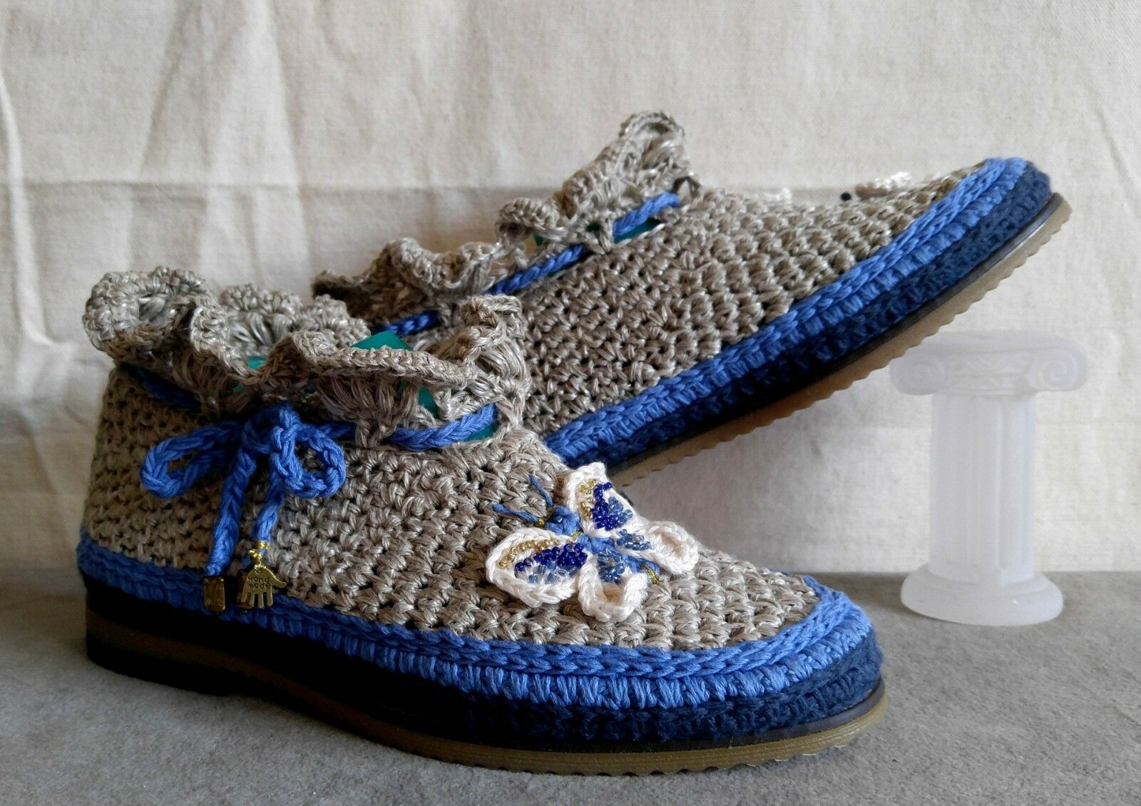 BOHO Eco Summer Ankle Boots shoes Flax Flax Flax Linen Hand Crochet Exclusive Lady Sz 6 a2e38f