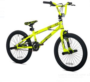 20  Chaos Boys' BMX Bike Single Speed Steel Frame Freestyle Stunts Neon Yellow