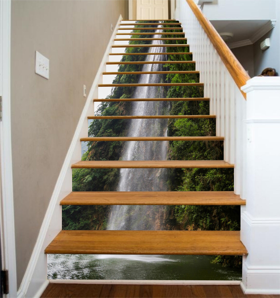 3D Gebirge Fluss 42 Stair Risers Dekoration Fototapete Vinyl Aufkleber Tapete DE