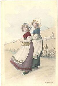 Mädchen in Trachtenkleidung, Holzschuhe, sign. Kratki, um 1900/10 - Brachttal, Deutschland - Mädchen in Trachtenkleidung, Holzschuhe, sign. Kratki, um 1900/10 - Brachttal, Deutschland