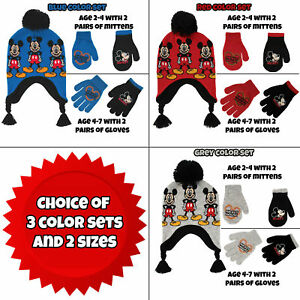 Disney Little Boys Mickey Mouse Hat and 2 Pair Gloves Mittens Cold ... 06a04de2f528