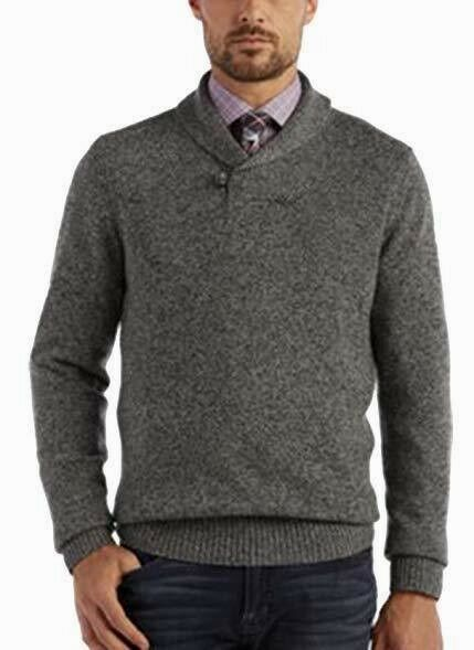 Nuovo Bellissimo Designer JOSEPH ABBOUD Uomo Gris Shawl Tweed Shawl Gris Collar Sweater XXL 56d996