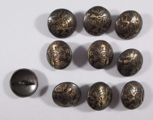 Metall  Knopf Knöpfe 10 stück  Messing Brüniert Wappen   20 mm   #828#