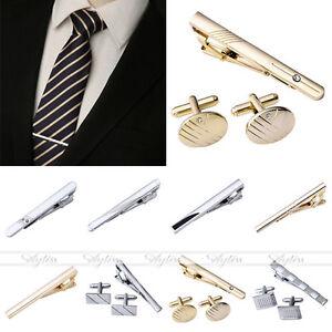 Men-039-s-Stainless-Steel-Simple-Necktie-Tie-Bar-Clasp-Clip-Cufflinks-Clamp-Pin-Gift