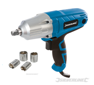 """SILVERLINE 400W ELECTRIC 240V 1/2"""" DRIVE IMPACT WRENCH RATCHET & SOCKETS 593128"""