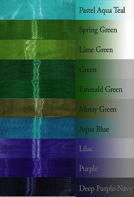 "8-yd 1"" inch ORGANZA ribbon pastel royal navy blue hunter green lime teal lilac"