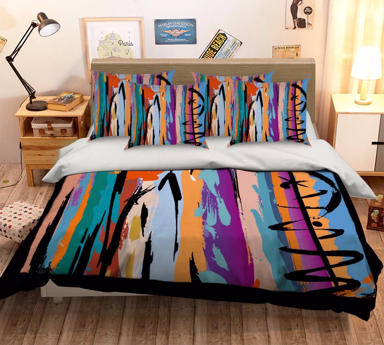 3D Gouache Graffiti 522 Bed Pillowcases Quilt Duvet Cover Set Single Queen CA