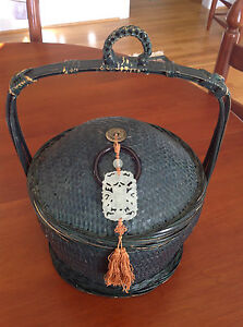 Antique Chinese Bamboo Food Basket