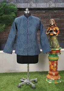 Women-Quilted-Indigo-Blue-Jacket-Reversible-Casual-Wear-Handmade-Cotton-Blazer