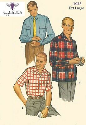 Vintage 1950/'s Sewing Pattern Rockabilly Men/'s Sports Shirt Medium Chest 38 40
