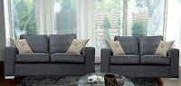 3 And 2 Seater Boston Sofas Grey Fabric Suite Chrome Legs - Mega Sale