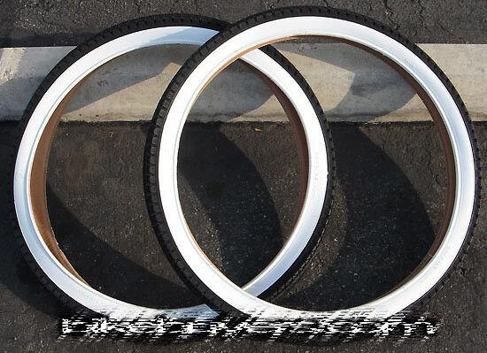 1 Pair of Duro 24 x2.125  Diamond White Wall Tire for Beach Cruiser Bicycle