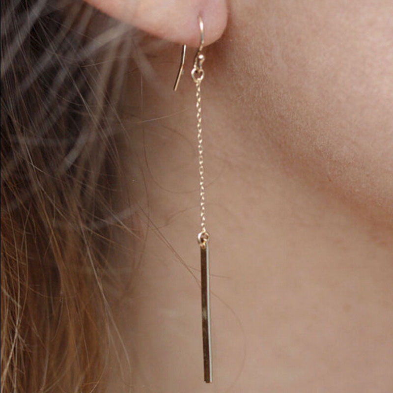 1 pairs Simple Gold Long Strip Punk Drop Earring For Woman Nice Accessories