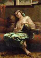 Charles Landelle Algerian Woman Playing A Darbouka A3 Box Canvas