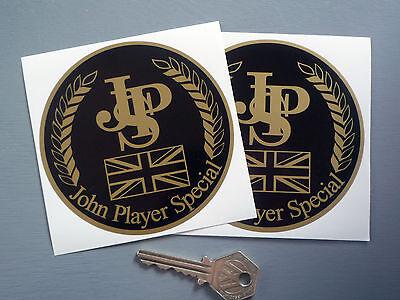 "JOHN PLAYER SPECIAL Classic Race Car STICKERS 4"" Pair JPS Lotus Racing F1 Rally"
