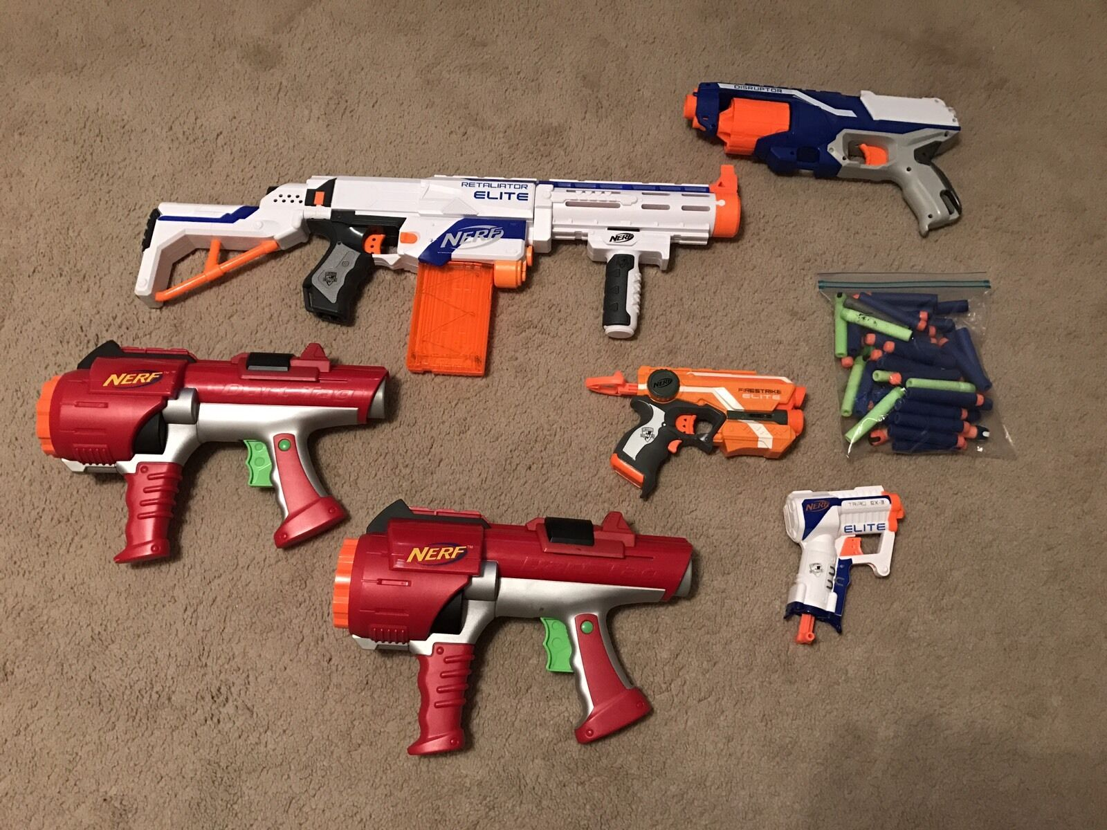 Nerf Gun Lot Retaliator Elite Elite Elite 2 Dart Tags Firestrike Elite Triao Ex-3 Disrupter 4df178