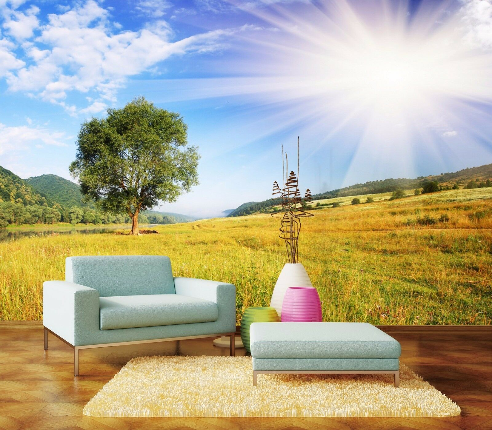 3D Lawn Sun 410 Wallpaper Murals Wall Print Wallpaper Mural AJ WALLPAPER UK