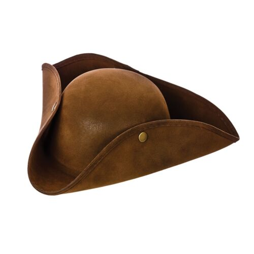 SUPER DELUXE BROWN SUEDE PIRATE HAT Adults Mens Womens Fancy Dress
