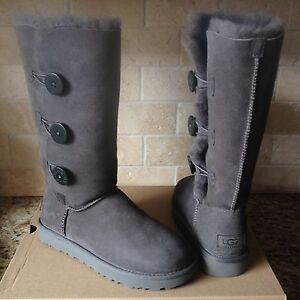 6109fcd1e10 Details about UGG BAILEY BUTTON TRIPLET TRIPLE II GRAY GREY TALL BOOTS SIZE  US 7 WOMENS