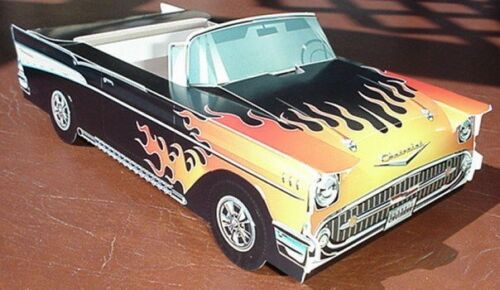 6 ~ 1957 HOT ROD Chevy Cardboard Car Kids Food Tray Box Table Center Chevrolet
