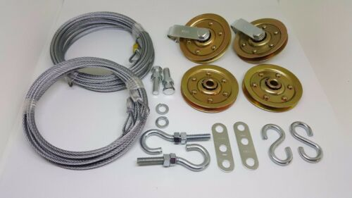 Garage door extension spring Extra Heavy Duty pulley sheave kit /& SAFETY CABLE