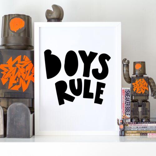 Boys Rule Bold Nursery Black and White Kids Room Wall Art Print Sign Decor Gift