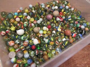 Vintage-Antique-Marble-Lot-Loose-Shooters-clay-marbles-etc