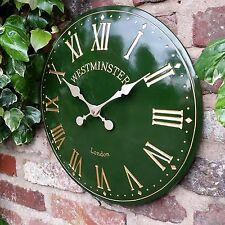 Reloj De Pared Para Exterior E Interior Verde Jardín Iglesia Pintado a Mano Reloj 30cm DS1077