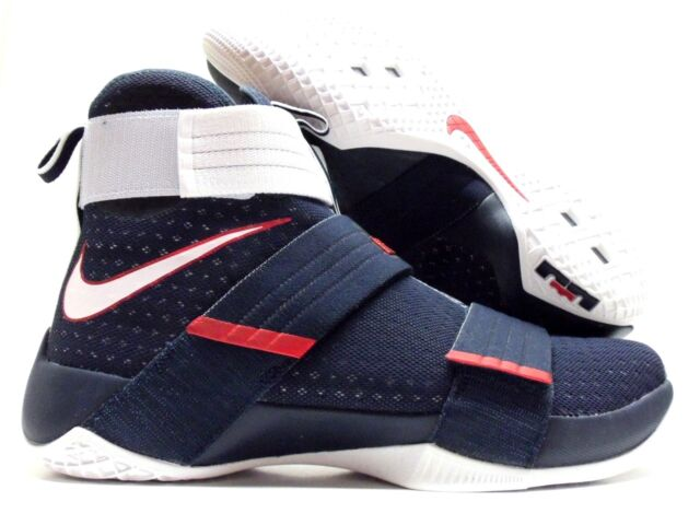 Nike Lebron Soldier 10 SFG USA X Men Basketball Shoes Obsidian White Red  13.5 2f342daab7