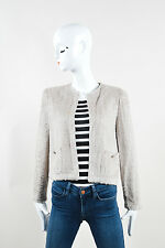 Chanel Boutique 98P Taupe Terry Chenille LS Open Front Sweater Cardigan SZ 40