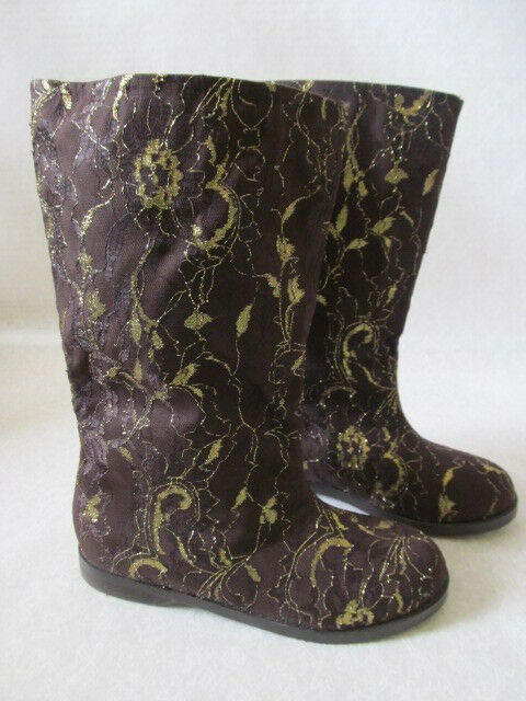 JOAN BOYCE LACE BROWN gold FLORAL DESIGN FLAT BOOTS SIZE 9 M - NEW