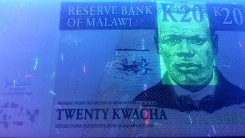 Malawi P52d tea harvest // John Chilembwe 20 Kwacha Lake Malawi see UV /& w//m