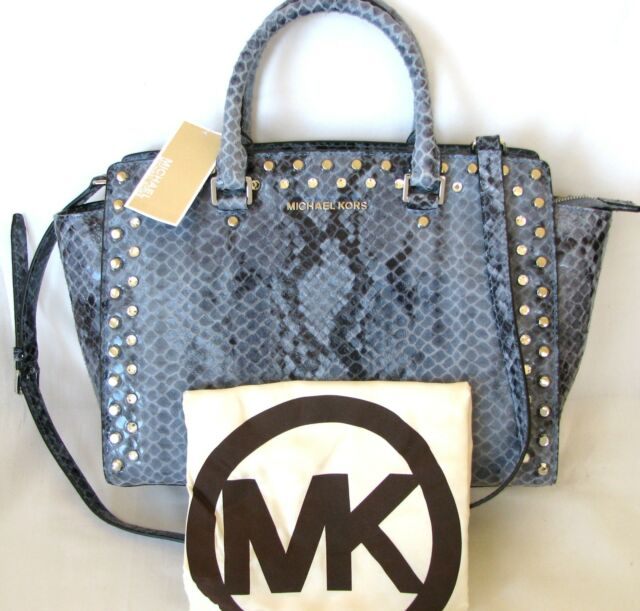 539c49873e Michael Kors Selma JEWEL Large Top Zip Satchel Purse Denim ...