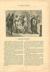 Childeric-III-Depose-Musulmans-Narbonne-Francs-19th-XIX-GRAVURE-ANTIQUE-PRINT