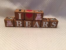 I (Heart/Love) Bears/Dolls/Pigs/Cows Decor 2 Pc Wood Block Set County Crafts