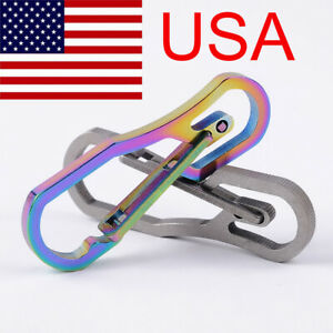 Titanium-Alloy-Snap-Key-Chain-Ring-Clip-Carabiner-Buckle-Hook-Keychain-US