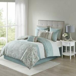 510-DESIGN-Shawneel-8-Piece-Bedding-Comforter-Set-for-Bedroom-Queen-Size-Blue