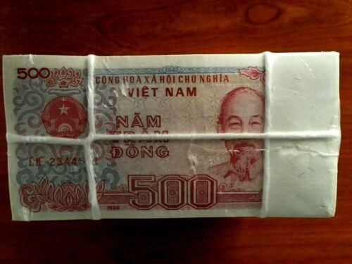 VIETNAM 500 DONG VND P101 1988 BUNDLE UNC MONEY PACK Lot 100 Pcs Vietnamese NOTE
