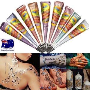 Natural Glitter Henna Mehandi cones tattoo kit body art temporary | eBay