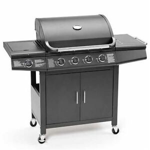 CosmoGrill 4+1 Deluxe Gas BBQ Black Barbecue Grill incl Side Burner Professional