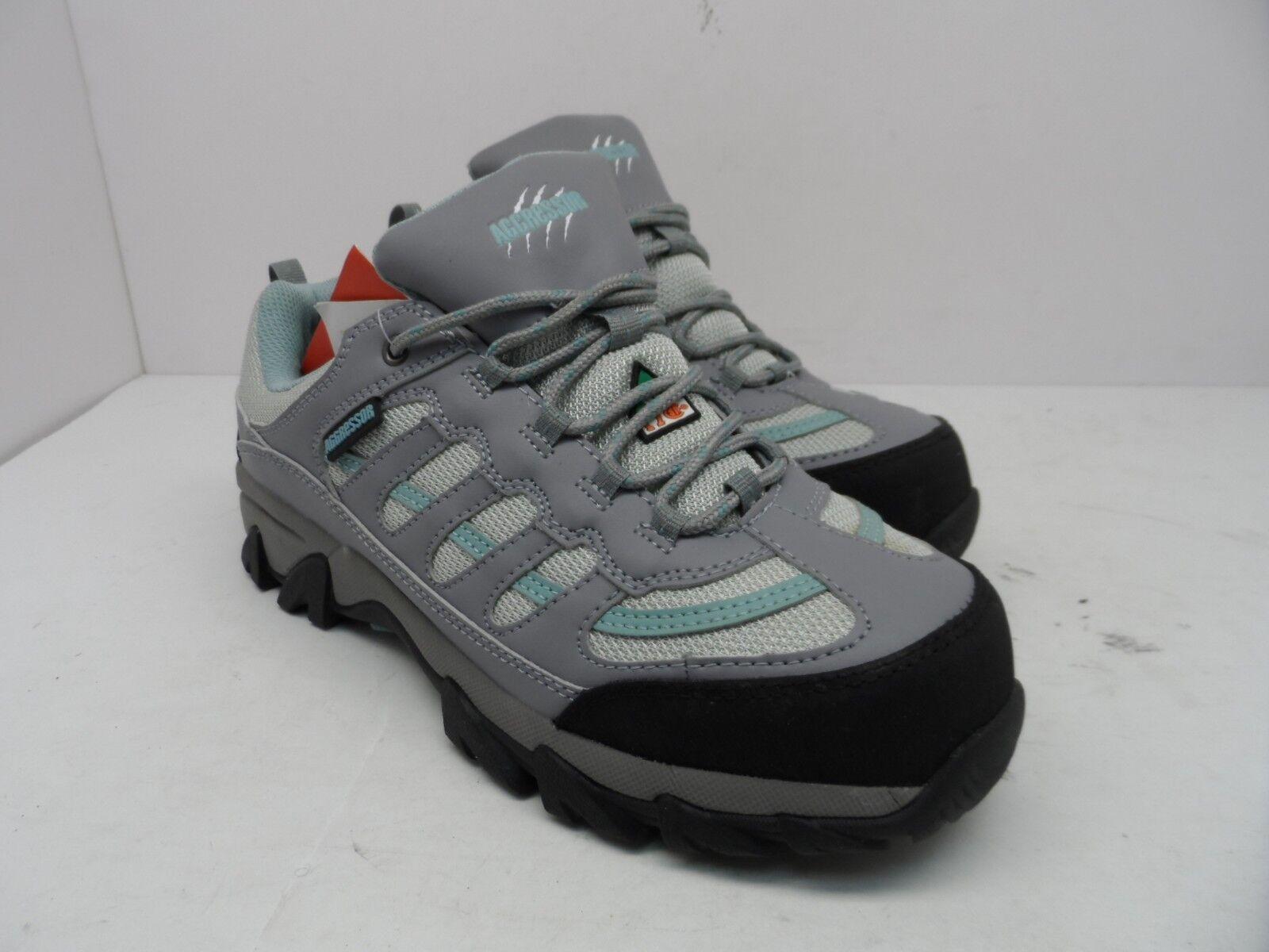 Aggressor Women's Steel Toe Steel Plate Approach Hiking shoes Grey bluee Size 9M