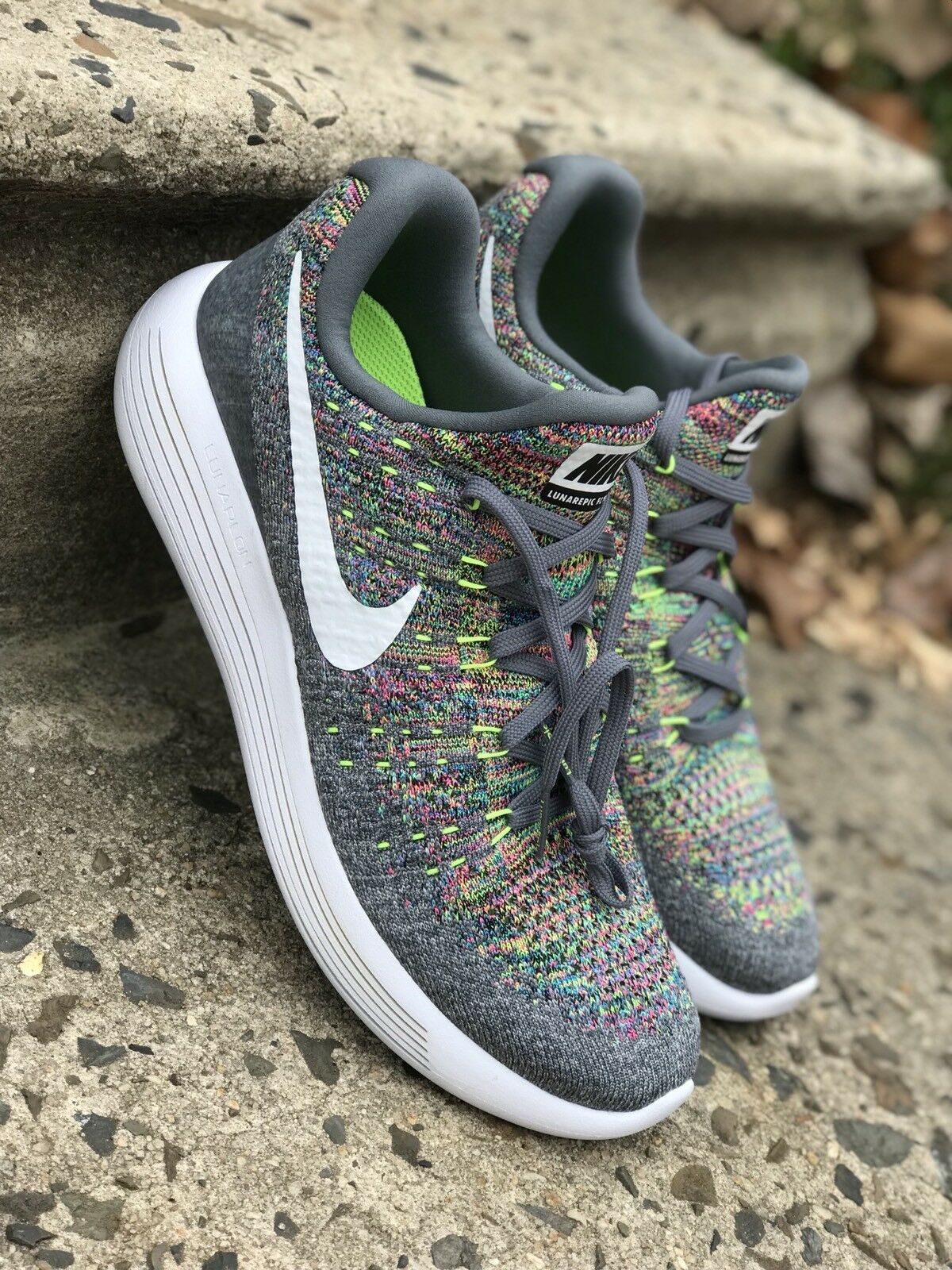 Nike Lunarepic Low Flyknit 2 Mens Running Grey/Multi-Color 863779-003 Sz 8 & 11