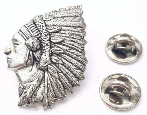 Indian Chief Handcrafted in Solid Pewter In UK Lapel Pin Badge