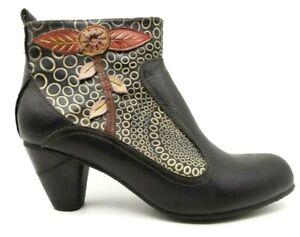 Spring Step L'Artiste Black Floral Zip Up Block Heel Ankle Boots Women's 40 / 9