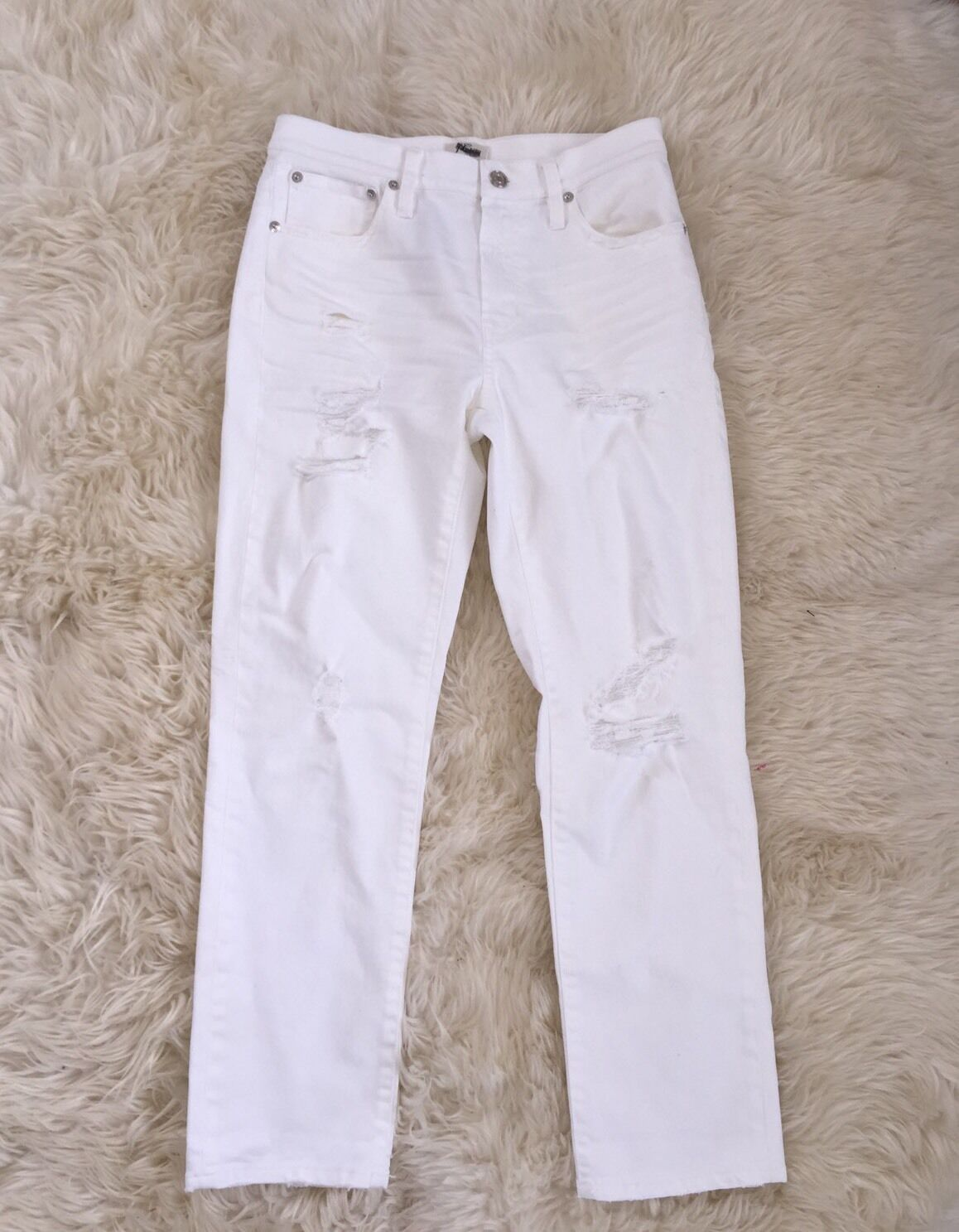 NWT  J Crew Vintage Crop Jean In Destroyed White 27 G2341 CURRENT SOLD-OUT
